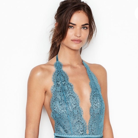 NWT Victoria's Secret: Med Sparkly Blue Lace Teddy